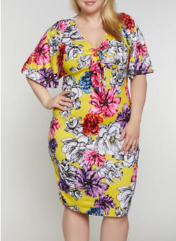 Plus Size Floral Soft Knit Empire Waist Dress - 0390038349475