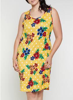 Plus Size Caged Back Floral Polka Dot Tank Dress - 0390038349477