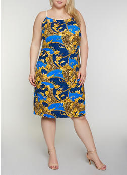 Plus Size Rope Strap Baroque Print Dress - 0390038349479