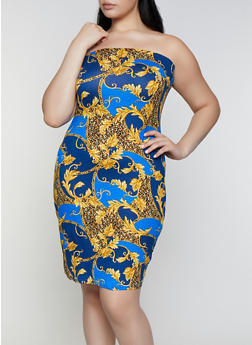 Plus Size Baroque Print Tube Dress | 0390038349481 - 0390038349481
