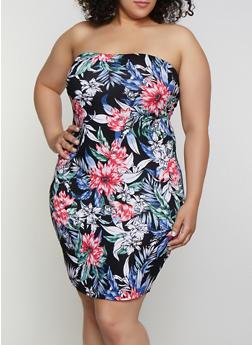 Plus Size Tropical Floral Tube Dress - 0390038349482