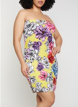 Plus Size Floral Tube Bodycon Dress - 0390038349483