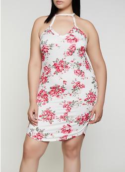 Plus Size Floral High Neck Bodycon Dress - 0390038349484