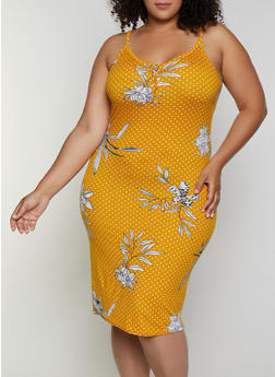 Plus Size Polka Dot Floral Cami Dress - 0390038349488