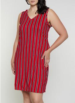 Plus Size Hooded Striped Tank Dress - 0390038349489