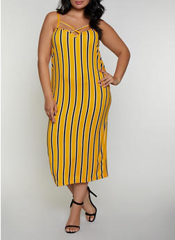 Plus Size Striped Caged Cami Dress - 0390038349491