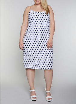Plus Size Chain Strap Polka Dot Cami Dress - 0390038349493