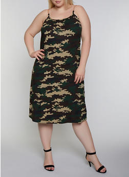 Plus Size Camo Chain Strap Cami Dress - 0390038349494