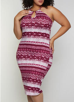 Plus Size Metallic Neck Detail Tie Dye Dress - 0390038349496