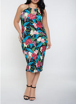Plus Size Metallic Neckline Floral Tank Dress - 0390038349497