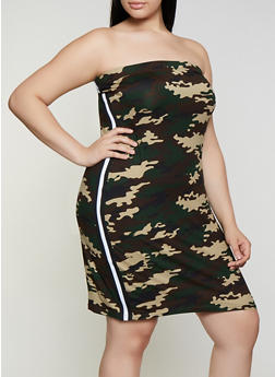 Plus Size Printed Tube Dress - OLIVE - 0390038349602