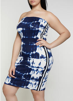 Plus Size Printed Tube Dress - NAVY - 0390038349602