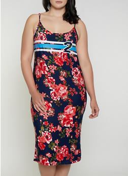 Plus Size Floral 2 Graphic Cami Dress - 0390038349605
