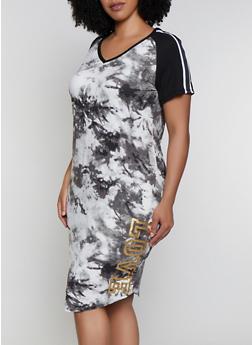 Plus Size Printed Color Block Love Graphic Dress - BLACK/WHITE - 0390038349606