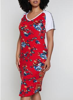 Plus Size Printed Color Block Love Graphic Dress - 0390038349606