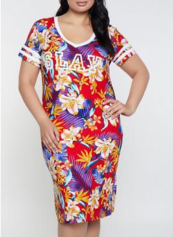 Multicolor 4X T-Shirt Dresses