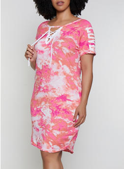 Plus Size Printed Lace Up Love Graphic Dress - 0390038349612