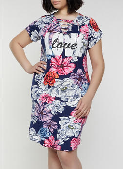 Plus Size Printed Lace Up Love Midi Tank Dress - 0390038349616