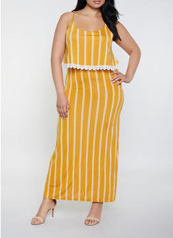 Plus Size Striped Overlay Cami Maxi Dress - 0390038349660