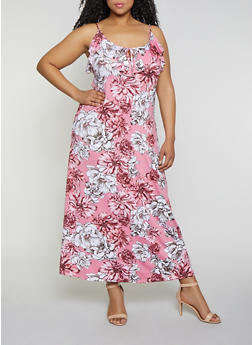 Plus Size Floral Ruffle Maxi Dress - 0390038349662