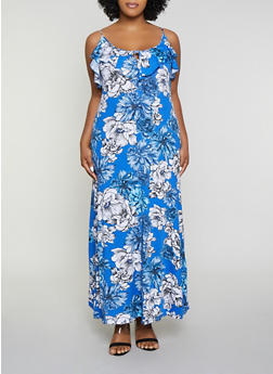 Plus Size Blue Floral Dress