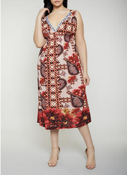 Plus Size Printed Empire Waist Dress - 0390038349663
