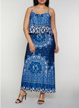 Plus Size Border Print Ruffled Maxi Cami Dress - 0390038349666