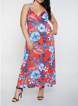 Plus Size Floral Metallic Strap Detail Maxi Dress - 0390038349675
