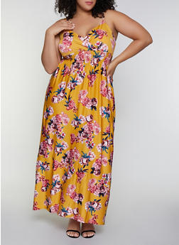 Plus Size Floral Smocked Empire Waist Dress - 0390038349677