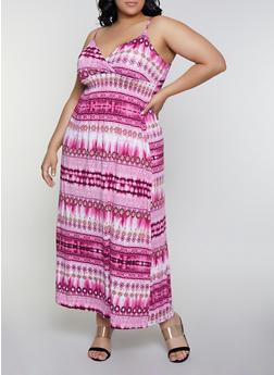 Plus Size Empire Waist  Printed Tie Dye Dress - 0390038349678