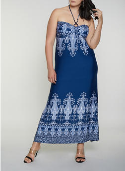 Plus Size Border Print Halter Dress - 0390038349680