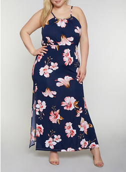 Plus Size Metallic Neckline Floral Maxi Dress - 0390038349684