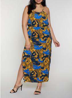 Plus Size Baroque Leopard Print Maxi Dress - 0390038349688