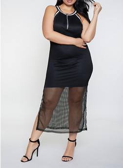 Plus Size Fishnet Maxi Dress - 0390038349694