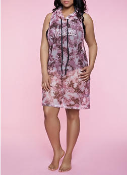 Plus Size Tie Dye Fishnet Hooded Tank Dress - 0390038349698
