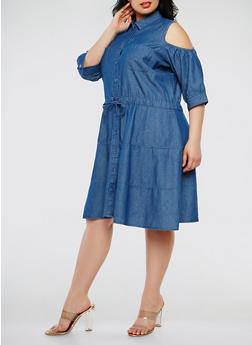 Plus Size Cold Shoulder Chambray Dress - 0390038349733