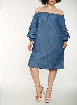 Plus Size Off the Shoulder Midi Denim Dress - 0390038349734