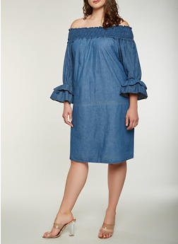 Plus Size Denim Off the Shoulder Dress - 0390038349737