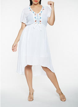 Plus Size Embroidered High Low Dress - 0390038349747