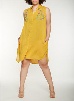 Plus Size Embroidered Midi Shirt Dress - 0390038349748