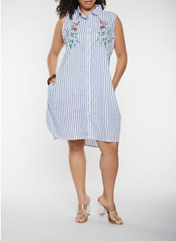 Plus Size Embroidered Striped Shirt Dress - 0390038349749
