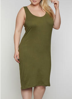 Plus Size Tank Midi Dress - 0390038349807