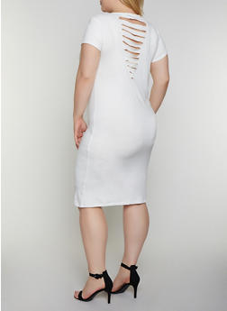 Plus Size Slashed Back T Shirt Dress - 0390038349809
