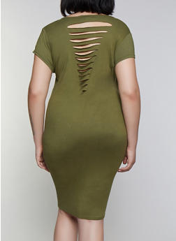 Plus Size Slashed Back T Shirt Dress - 0390038349809