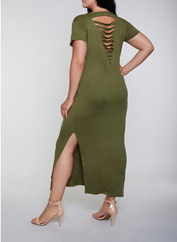 Plus Size Slashed Back Maxi T Shirt Dress - 0390038349810