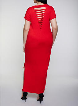 Plus Size Slashed Back Maxi T Shirt Dress - 0390038349810
