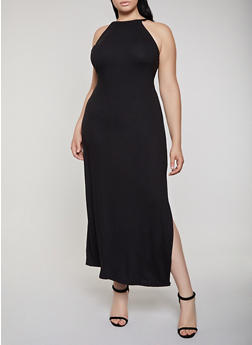 Plus Size Solid Maxi Tank Dress - 0390038349812