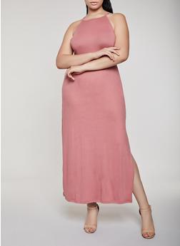 Plus Size Solid Maxi Tank Dress - 0390038349812