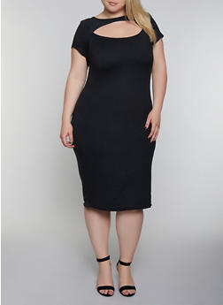 Plus Size Cut Out Soft Knit Dress - 0390038349816