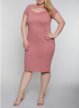 Plus Size Cut Out Soft Knit Dress - 0390038349816